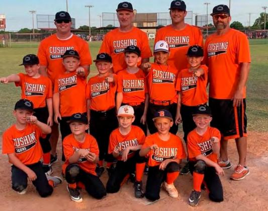 The 7U Tigers show off their championship rings from the Blanchard Tournament this weekend. They are, bottom row from left, Tate Hancock, Tyler Harrison, Eli Dennis, Lyndon Casarez and Wes Nickell. Second row from left Lucas Vieyra, Jackson House, Jacob House, Bo Hightower, Dillon Mann and Ford Turner. Back row from left, coaches Dusty Hancock, Brian Hightower, Matt Turner and Rennie Nickell.