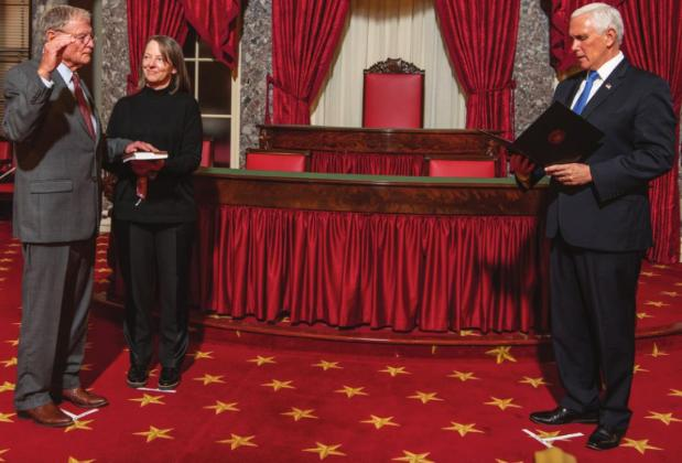 Right: Senator Jim Inhofe is sworn in for the 117th congress, accompanied by his daughter, Molly Rapert.